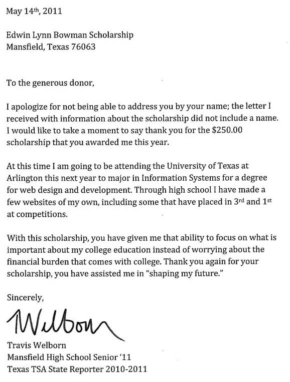 Letter For Scholarship Recipient scholarship recipient thank you – Scholarship Thank You Letters